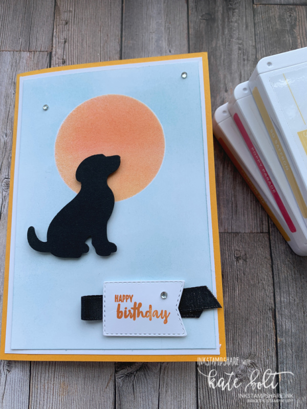 It's Raining Cats and Dogs! A Dog Birthday card using the Dog Builder punch with sponging to make an inked sunset. Raining Cats And   Dogs At Coffee & Cards.  Black Dog