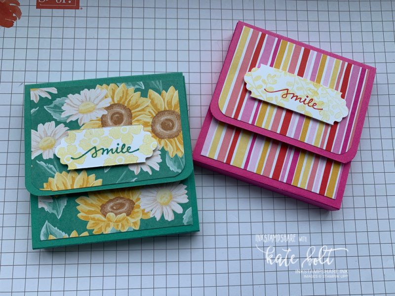 Post-It note holders using the Flowers  For Every Season DSP. Such a bright, fun project to make. Stamps are the Lovely You stamps/punch bundle.