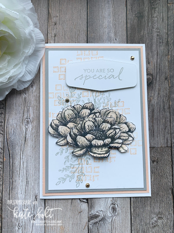 You are so special! Pretty, elegant card in Petal Pink and Smoky Slate using Tasteful Touches.