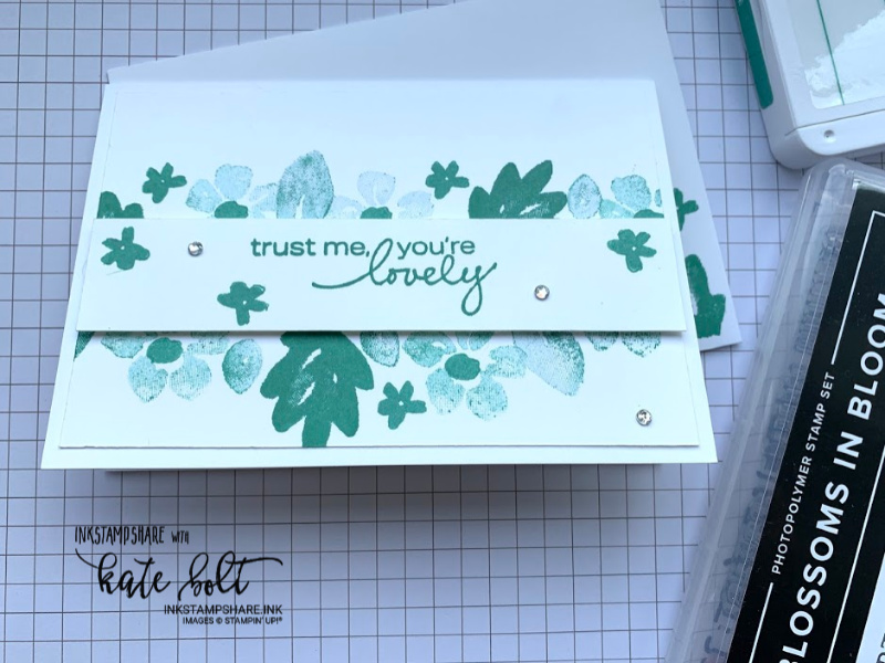 Simple card using the new 2020 Stampin Up In colours and #simple stamping with Blossoms In Bloom. Just Jade