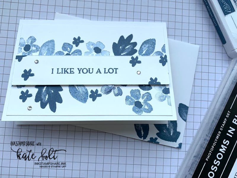 Simple card using the new 2020 Stampin Up In colours and #simple stamping with Blossoms In Bloom. Misty Moonlight