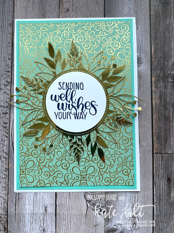 Get Well card using the Forever Gold Laser Cut Papers and  the Ornate Garden DSP for Coffee and  Cards