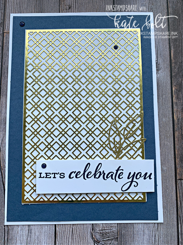 Mens Birthday card using the Forever Gold Laser Cut paper with Misty Moonlight Card in blue, white and  gold.