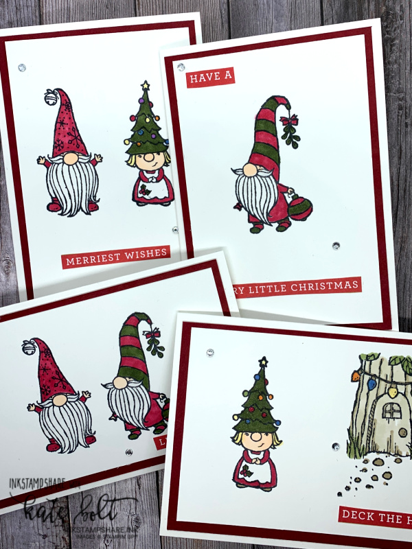 Cute Christmas gnomes! Fun, quick, easy Christmas cards using the Gnome For The Holidays! stamp set