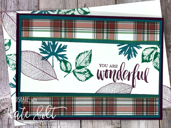 Cosy Up With Plaid Tidings!  Autumnal Thank you card and envelope using the Plaid Tidings paper and  the Rooted In Nature stamp set. Says You Are Wonderful and  the plaid paper gives a cosy feel to it.