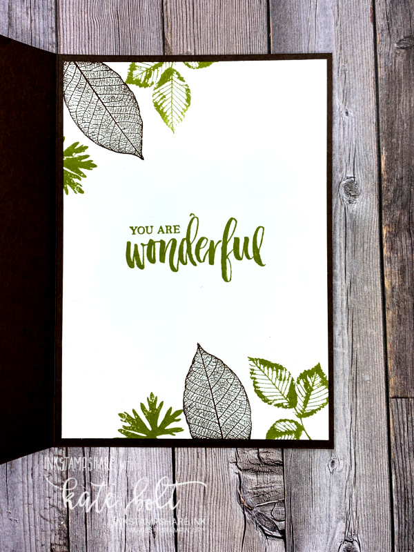 Hand made card using Stampin' Up products. Be strong, Be Happy, Be You card using the Nature's Roots Dies with leaves cut from Brushed Metallics in Bronze, Copper and  Gold on a wood grain background in Early Espresso and  . Support catd with You Are Wonderful stamped inside Old Olive