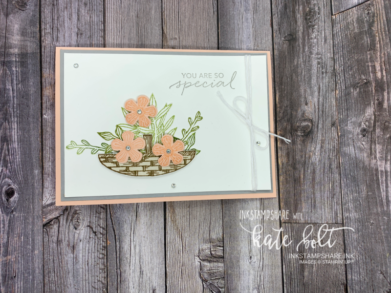 You Are So Special - hand stamped card made using the Basket Of Blooms stamp set from Stampin' Up! In Petal Pink and  Smoky Slate.