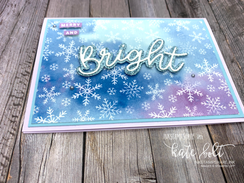 Merry And  Bright Christmas! card created using the Peace And Joy Bundle and  the Snowflake Splendor papers. This quick, easy card featured in my Coffee and  Cards Facebook live. You can see it in this post or on Youtube.