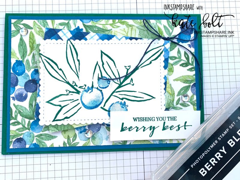 Berry Delightful papers and  the Berry Blessoings stamps from Saleabration are used in this card. A sneak peek from Saleabration for the Stampers Showcase Blog Hop