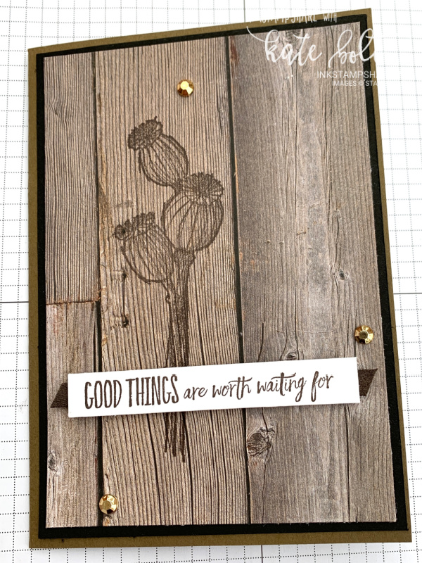 Good things are worth waiting for card for the Positive Inkers Blog Hop using the Enjoy The Moment stamp set from the upcoming new catalogue. Card with seedhead images.
