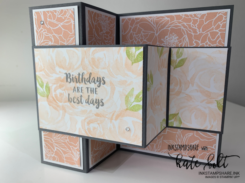 Double Z fold birthday card in Basic Gray and Blushing Bride, using the Peony Garden Papers and  the rose stamp from the Beautiful Garden stamp set in Blushing Bride