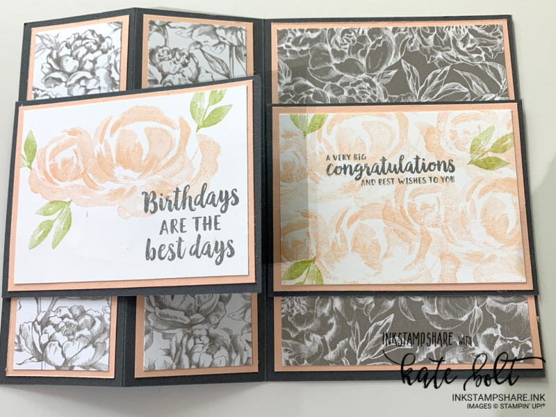 Z fold birthday card in Basic Gray and Blushing Bride, using the Peony Garden Papers and  the rose stamp from the Beautiful Garden stamp set in Blushing Bride