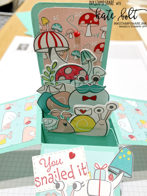 You Snailed It! Card in a box using the Snail Mail Suite Collection from the new Stampin Up catalogue with video tutorial.