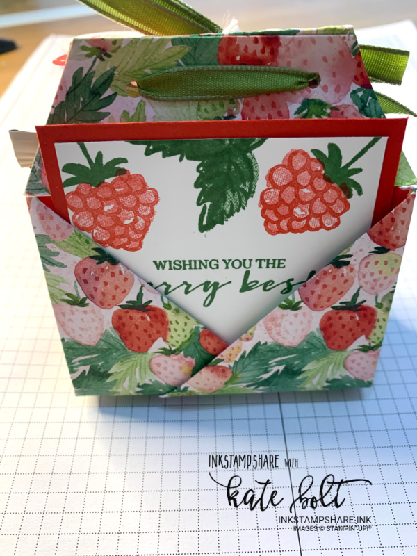 Tea and biscuits treat pouch using the Berry Blessings stamps and  Berry Delightful papers from Stampin Up!s Saleabration. Holds a tea bag, a message, two biscuits and  is perfect for tea with a friend!