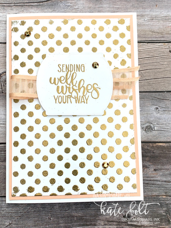 Using heat embossing with masking to create backgrounds for this get well card in gold. pink and  white, With YouTube tutorial.Using the Dandelion Wishes stamp set.