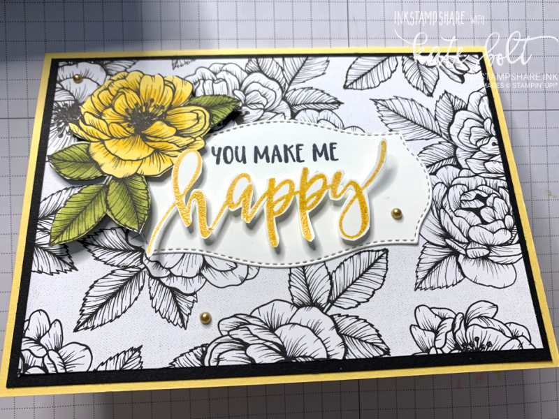 You Make Me Happy card using the True Love Designer Series Papers. Flower card in So Saffron, Black and White.