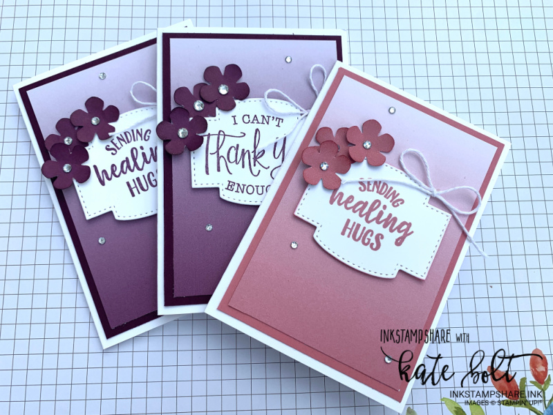 Get well and Thank you cards using the Oh So Ombre papers, small bloom punch and  So sentimental Bundle from Stampin Up In Blackberry Bliss and  Rococo Rose.