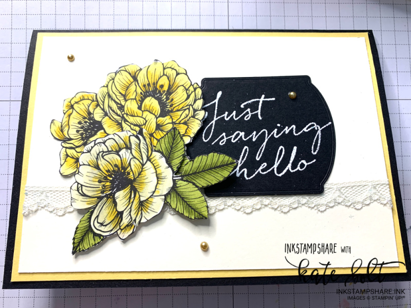 Just Saying Hello card using the True Love Designer Series Papers. Flower card in So Saffron, Black and Vanilla.
