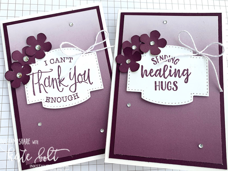 Get well and Thank you cards using the Oh So Ombre papers, small bloom punch and  So sentimental Bundle from Stampin Up In Blackberry Bliss