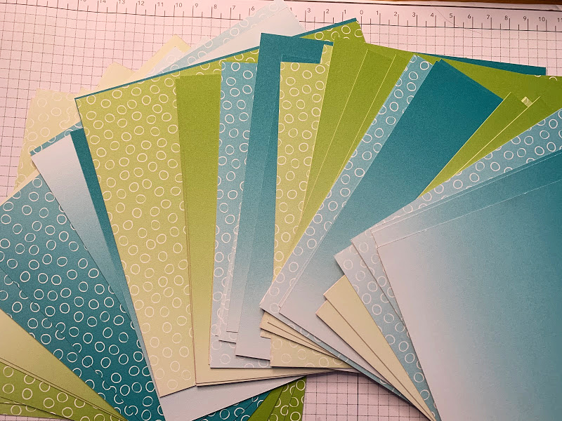 Oh So Ombre papers free from saleabration. Bermuda Bay, Granny Apple Green sides