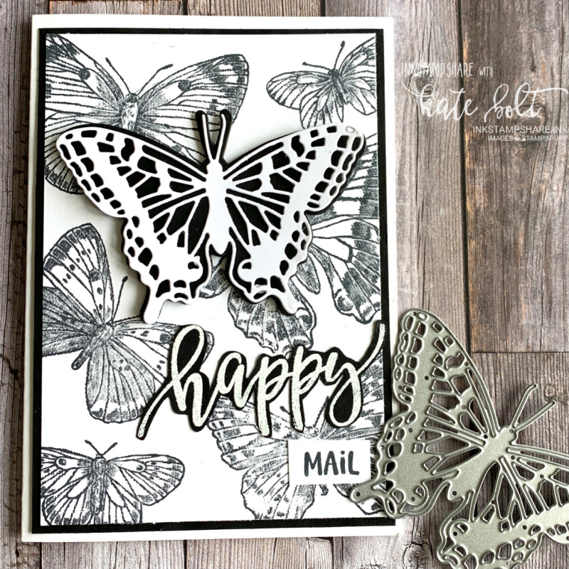 Card for the Stampers Showcase Blog hop's black & white theme. using the Butterfly Brilliance to create this card full of happy mail!