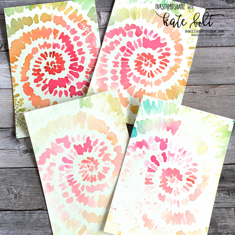 A Tie-Dye Card With Ink using the new Spiral Dye stamp from Stampin Up! with YouTube tutorial perfect for ink techniques. This one is simple and fun to do!