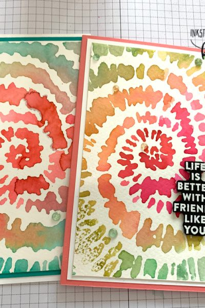 Tie Dye card using Stampin Up! Spiral Dye stamp. With YouTube tutorial.