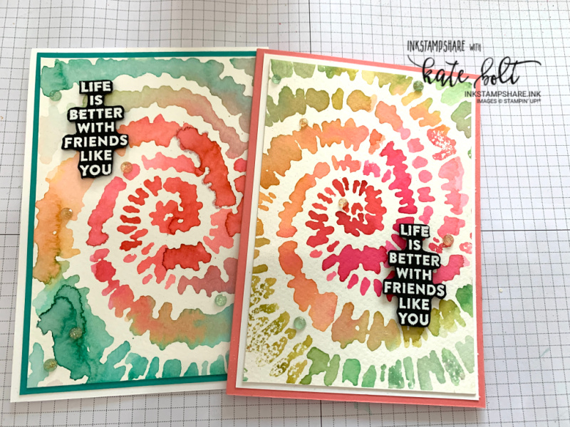 A Tie-Dye Card With Ink using the new Spiral Dye stamp from Stampin Up! With YouTube tutorial. perfect for ink techniques. This one is simple and fun to do!