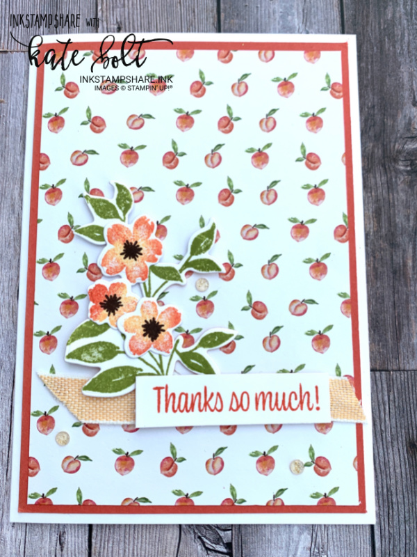 Thank you card for the Inspire Create Challenge using the Sweet As A Peach! Suite. Using the pretty papers in this suite together with the stamp/die bundle with some stamping and sponging.