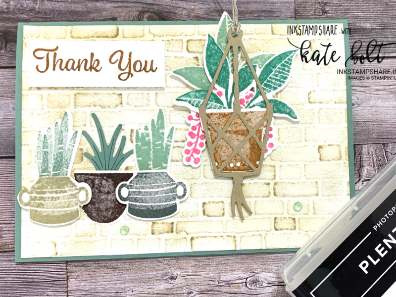 Stepping it up at Coffee and  Cards using the Perfect Plants dies and  the Plentiful Plants stamps with the Bricks and  Mortar embossing folder to create a fun hanging basket of plants card.
