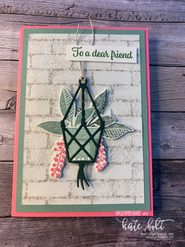 Card for the Inspire Create Challenge #092. Using the Plentiful plants stamps for this card featuring a macrame basket of hanging potted plants