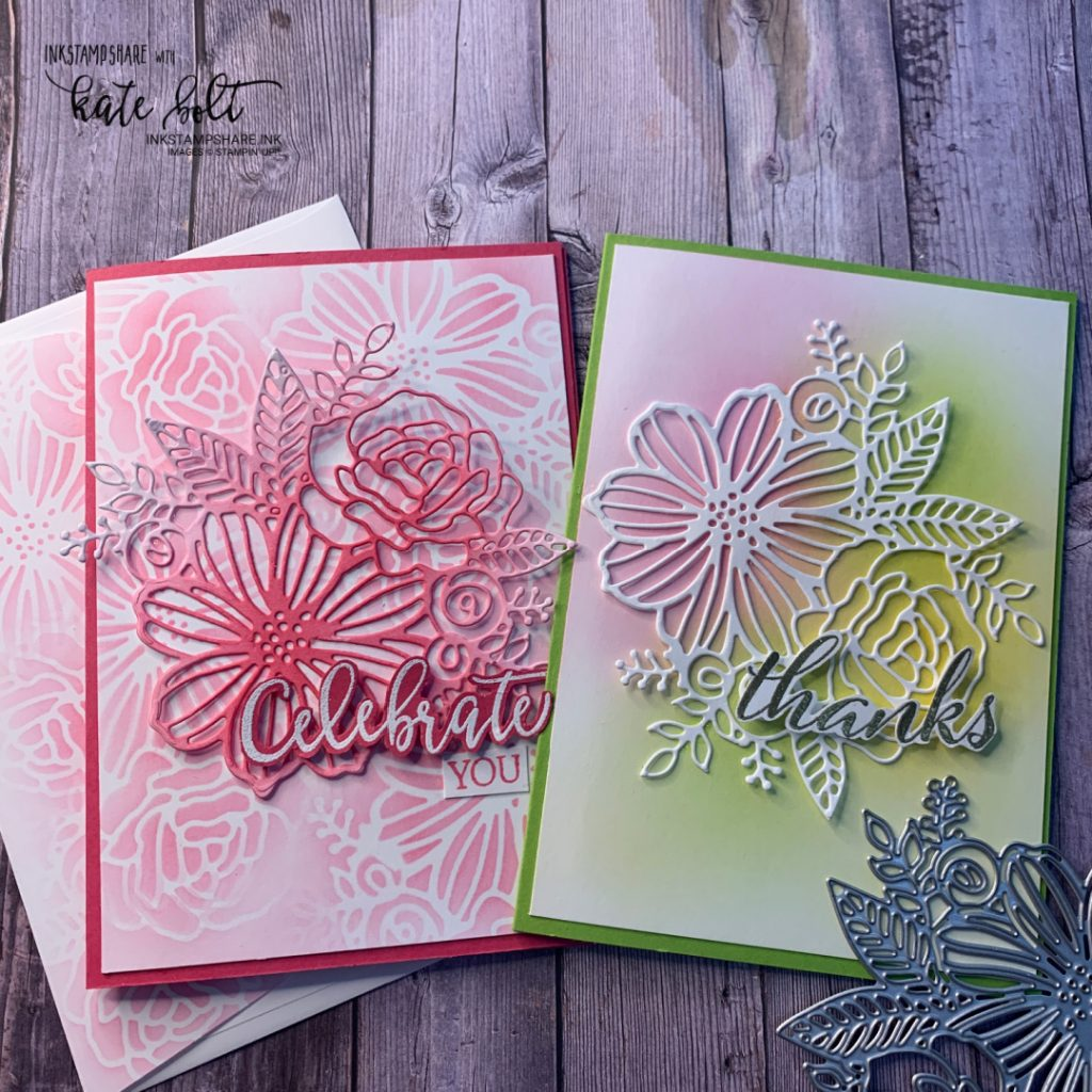 Celebration and  thank you cards created using blending brushes, ink and  the detailed artistic die,