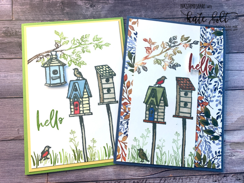 a fun garden scene for your card using the Garden Birdhouses stamp set from Stampin' Up! Perfect for new home, hello, birthday cards. With a fun sponging technique and  using patterned papers on your cards.