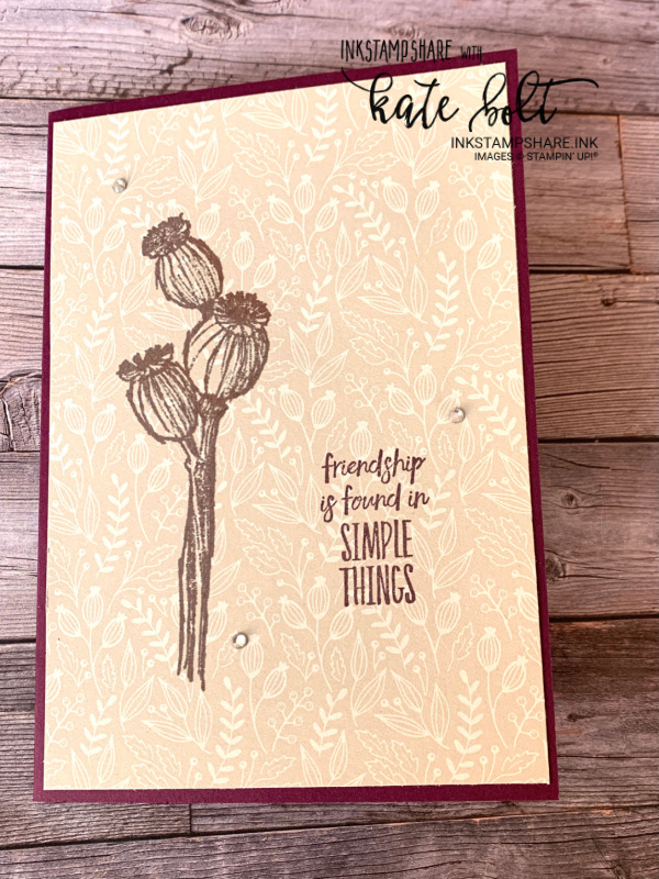 Simple stamping using the Tidings Of Christmas paper with the Enjoy The Moment stamp set. Friendship is found in simple things.