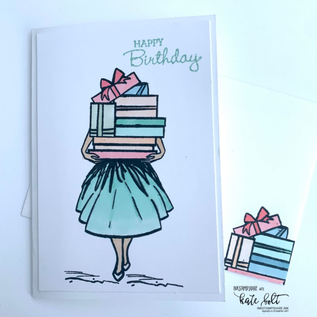 Delivering Cheer At Birthdays & Christmas with the Delivering Cheer stamp set. A sweet Christmas Card with imagery showing a girl delivering a Christmas Tree, Gifts or a bouquet of flowers. Perfect for use with lots of colouring mediums. This one using the Stampin Blend Markers. All from Stampin Up!