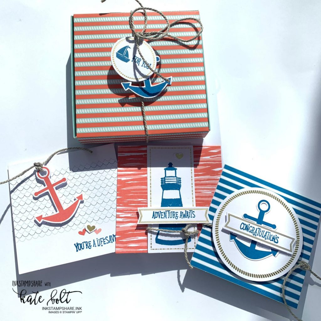 You Are My Anchor! card kit from the Kits Collection by Stampun Up. Just 3 of the cards and 1 of the boxes made up