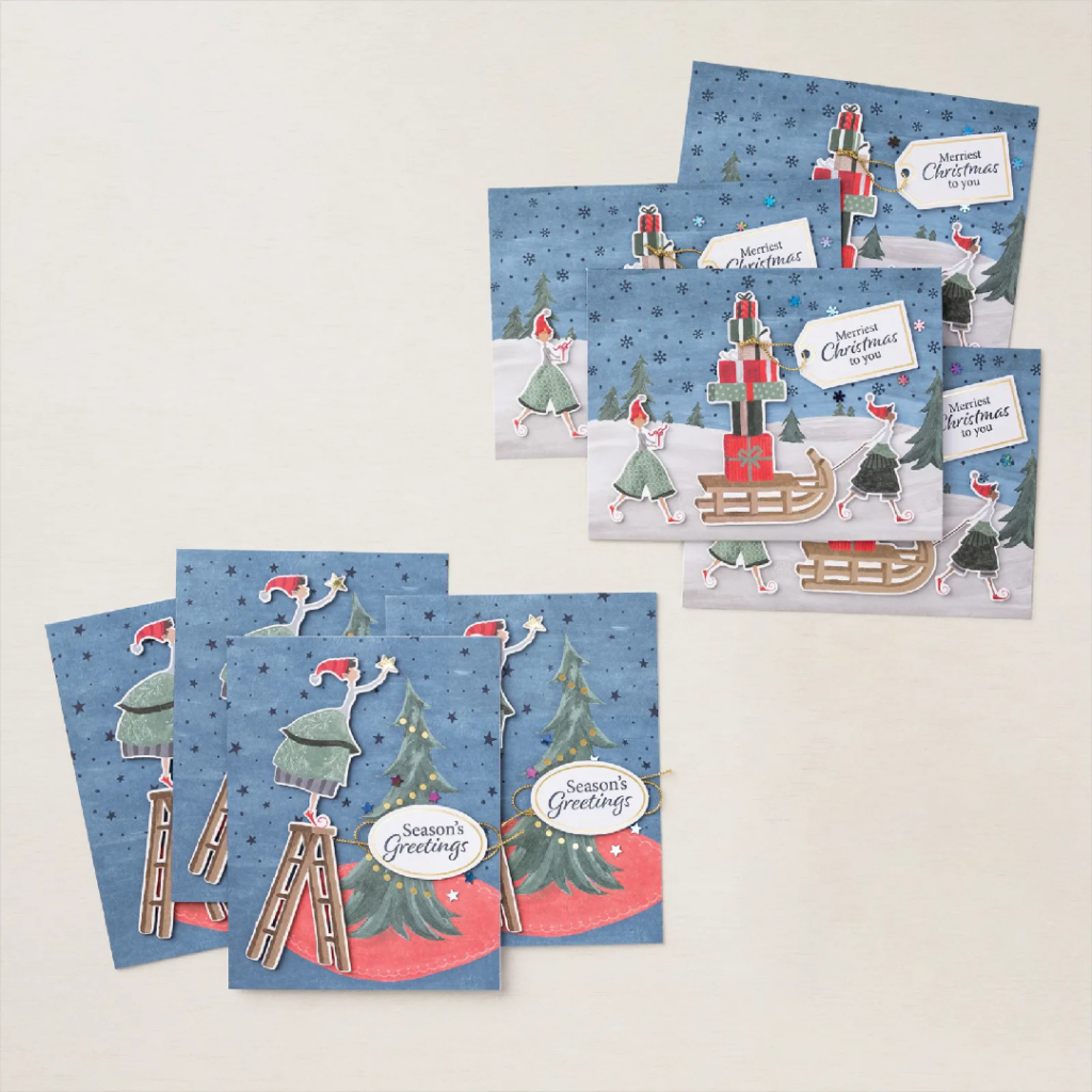 Chrismas Whimsey Card Kit from the Stampin Up Kit Collection. Completed