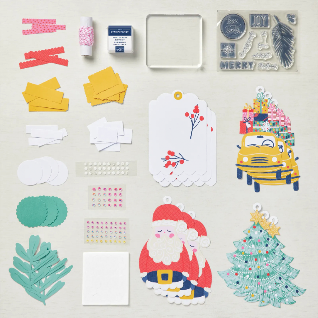 The Love Santa Kit. Oversized Christmas tags featuring cute Christmas images - Kit contents