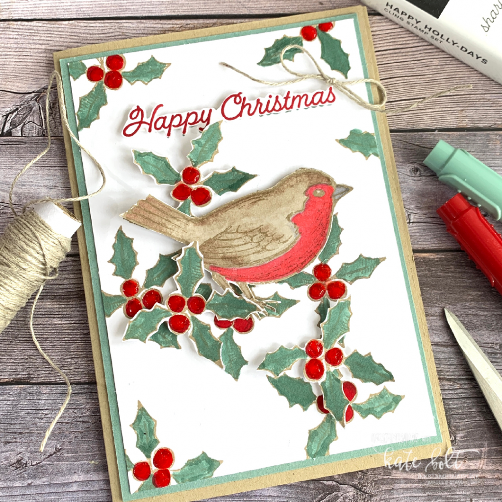 Happy Holly Days For Coffee & Cards this week. This Robin is so Christmassy and vibrant in Real Red for this easy Christmas card. Using the Happy Holly Days stamp set by Stampin Up!